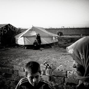 Syrian refugees in camp near Jeeza, Jordan