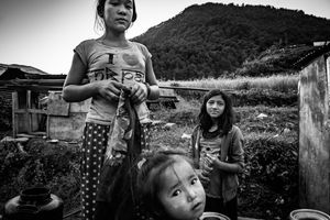 Girls in the village of Baluwa, Gorkha District, near the epicenter of the 2015 earthquake which killed 9,000 people.
