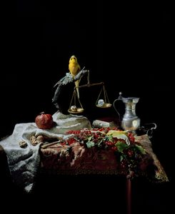 Still life with budgies