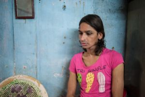 Shalu, is gay, but he has been adopted into a hijra group.  Like the others in his group, he is a sex worker.  © Alison McCauley