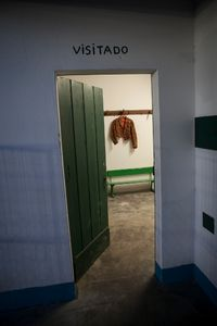 A forgotten jacket is hanging in the dressing room of the Group of Forcados of Évora. © Eduardo Leal