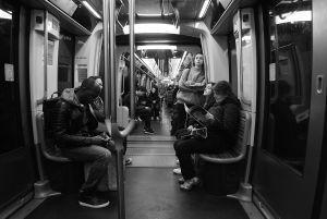 Passengers on the metro in Paris