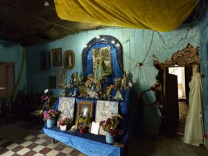 Interior shrine of the private house of the elderly devotee in Corrientes Capitale