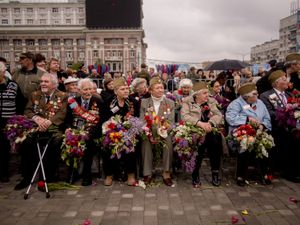 WWII veterans during the May 9th Victory Day parade in Donetsk.