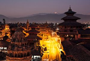 Kathmandu, Nepal: A peaceful night view of Patan and the mighty Himalaya in the background. The town of Patan and the Durbar square are under Unesco protection. © Matjaz Krivic