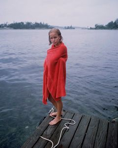 Katie in red towel on rainy day, 1997. © Blake Fitch