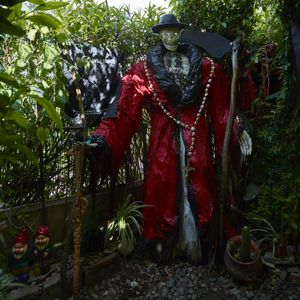 Main entrance to the San la Muerte garden of the devotee healer in Buenos Aires suburbs of Vittoria