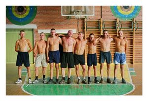 Greeting of the rival team before a basketball match on the occasion of the founding of the Kraziai youth club and return home of friends in August 2002 © Mindaugus Kavaliauskas