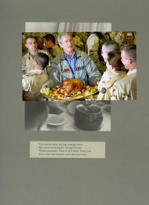 © Adam Broomberg and Oliver Chanarin Plate 26, George Bush serves a Thanksgiving turkey to US troops stationed in Baghdad in 2003, 2011. Courtesy of the artist and The Photographers' Gallery, London