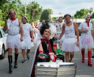 Cruella de Vil and Her Dogs, Frances Street, Key West, Florida. © Rona Chang