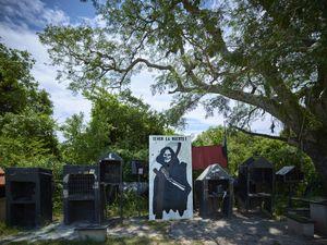 Open air shrine of San la Muerte in Resistencia Chaco village