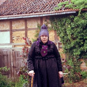 Martha Elisabeth Braun with the hood for Lord's Supper, Schwalm, Hesse, 2016. From the series: The last women in their traditional peasant garbs