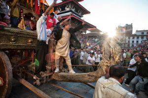 Kathmandu, Nepal: Kumari precession at famous Durbar square. © Matjaz Krivic