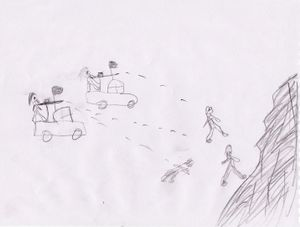 A drawing of Anas, picturing unknown fighters shooting at people in the mountains. It was impossible to understand whether this scene was experienced by the child or whether he has seen in on TV.