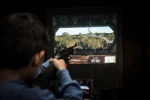 Kids wild deer hunting in a video game.  © Antonio Pedrosa