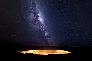 Heaven meets Hell as the Milky Way ascends over the Darvaza gas crater in the Karakom desert of Turkmenistan.