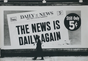 Daily News, California 1964. Vintage silver print © Dennis Hopper. Exhibitor: Johannes Faber