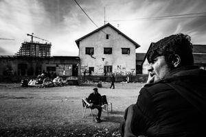 View of the temporary shelter in Serbia, Belgrade. Refugees are hopeless and resigned, they do not know what will happen next.