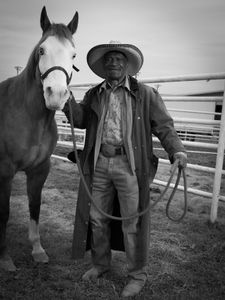 Adam Ezell, JR, 75, no longer competes in the rodeo. He rode in the grand entry at the Bill Pickett Rodeo in Memphis, TN on March 28, 2015.