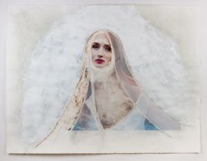 'Magdalene' - Unique distressed archival pigment print on Rives BFK with acrylic paint, gel medium, and gold leaf - 30 x 44 inches - 2016