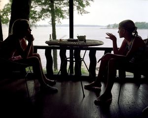 Girls on porch at sunset, 1997. © Blake Fitch