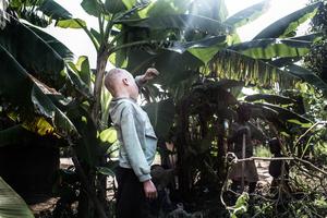 Semuju catches some shade under a banana tree