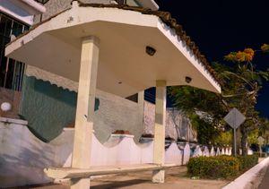 Bus stop bench in Ixtapa.