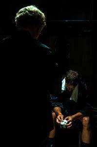 Actor Robert Pike Daniel, left, & actor Justin Hartley, rehearse a scene.