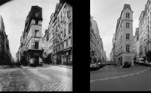 Maison où habitait André Chénier en 1793,  97 rue de Cléry, 1907, © Eugene Atget. Maison où habitait André Chénier en 1793, 97 rue de Cléry, 1997, © Christopher Rauschenberg.