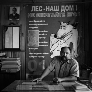 Sergei Ufimtsev. The head of Narym forestry in his office. Narym. Tomsk region. Russia. 2008.