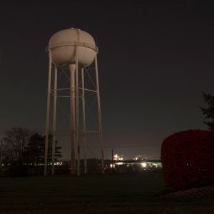 Water Tower and a Red Bush