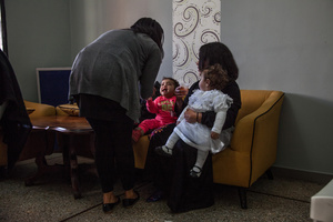 """Casablanca, March 2015.  All the girls are celebrating with their children and the staff of the association """"Solidarité Feminine""""."""