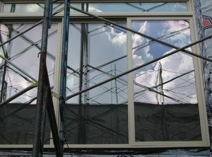 scaffolding reflected in windows