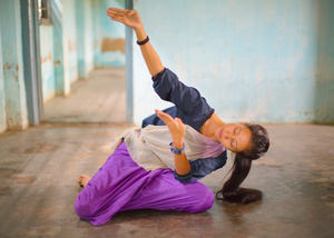 A student practices traditional movements of the Lai Haraoba Jagoi, dances.