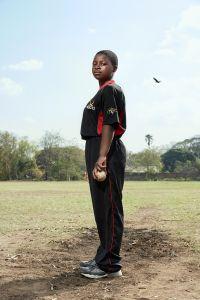 Brenda, bowler, Malawian Under 19 Women's Cricket Team, Blantyre, Malawi, 2016.
