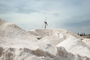 When the salt is dry, the mountains are removed by the workers by hand.