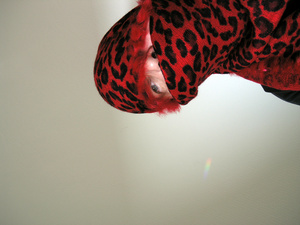 self portrait with a red chinese scarf I