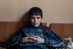 17/12/14 -- Sulaimaniyah, Iraq -- Daham Faiaq 12, yo. refugee from Kobane, Syrian Kurdistan. He lives in Babusi Hotel with his family. Daham and his father work on the streets as shoeshiners.
