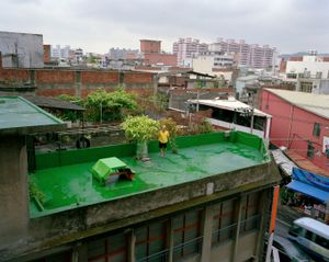Man on Roof after Typhoon, Taoyuan, Taiwan.