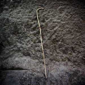 A pilgrim's wooden stick outside one of the rock temples in Lalibela.