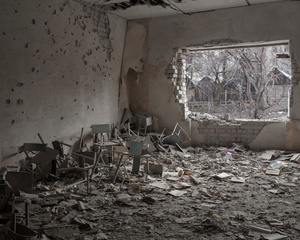A classroom destroyed by gunfire. School in Novotoshkivs'ke, ATO zone (war zone), Ukraine, March 2015.