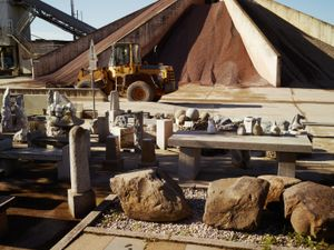 Masonry workshop at the former Sachsenhausen prisoner brickworks. Rocks were delivered here from the Gross-Rosen quarry.