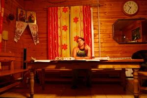 Irina Vikhoreva, a hotelier from Novososedovo village, is designing new buildings for her lodge resort.