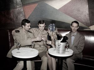 Laurence Hunt, Simon Odell, Laurence's sister, Celia Duchamp and James Francis Holdt at a nightclub in New York City  | Laurence, 1944