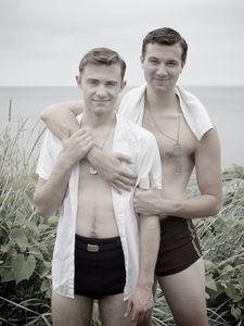 Simon Odell and Laurence Hunt pose for a photograph on the cliff overlooking the beach on Long Island, NY | Laurence, 1944