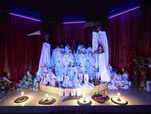 Wood lightened  shrine of San la Muerte in a private house in Barranqueros Resistencia village