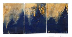 """Littoral Drift Nearshore #756 (Triptych, Isaac Hale Beach Park, Páhoa, HI 09.21.17, Splashed, Meeting Point of Kilauea's Lava Flow and Pacific Ocean)42x93"""", Unique Cyanotype"""