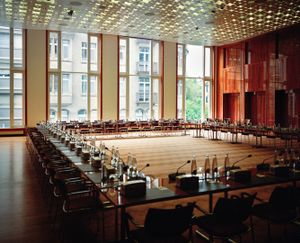Switzerland, St.Gallen.  2012. Conference room, where the 41st CCEEs' plenary assembly is held. The assembly is held yearly. Depending on the allocated budget for each meetings, conferences are held either in luxury hotels' conference rooms either in local religious facilities.