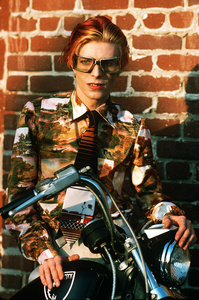 David with goggles and bike. Los Angeles, 1974