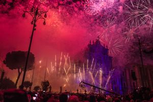 Festa Sant'Agata with fireworks at Dome of Catania